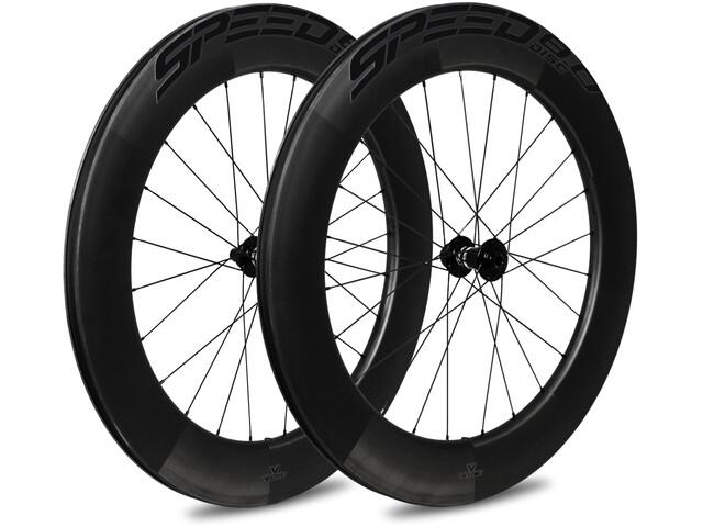 Veltec Speed 8.0 Ensemble de roues pour la route 83mm Frein à disque QR Shimano, black